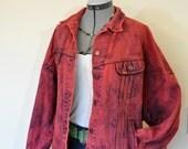 "Red Mens XL Denim JACKET - Scarlet Red Dyed Lee 80s Stone Wash Denim Trucker Jacket - Adult Mens Size Extra Large (52"" chest)"