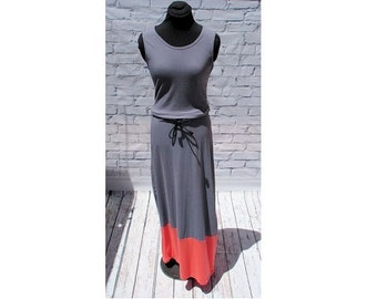 Gray Coral Maxi Dress, Organic Cotton Maxi Dress, Colorblock Sundress, Drawstring Waist Maxi Dress, Tie Waist Maxi Dress, Knit maxi dress