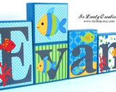 Evan Fish Collection -Fish Theme Name Blocks - Underwater, Sea, Ocean, Beach, Fish - Blue, Green, Red, Gray