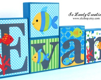 Evan Fish Collection -Fish Theme Name Blocks - Underwater, Sea, Ocean, Beach, Fish - Blue, Green, Red, Gray