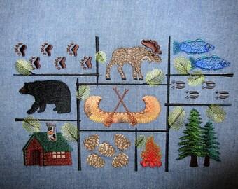 Denim Northwoods Embroidered Fabric Block