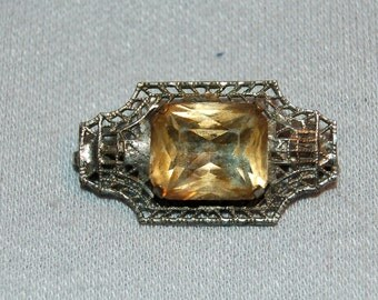 Vintage / Victorian / C Clasp / Brooch / Topaz / Cabochon / Silver / Filigree /  Pin /  Old Jewelry