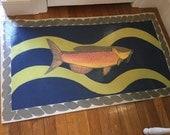 Blue Rainbow Fish Floorcloth