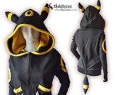 MADE TO ORDER - Umbreon yellow inspired cute pokemon hoodie