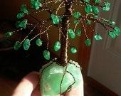 "Miniature Dark Green Aventurine on Green Calcite Gemstone Tree of Life ""Purifying & Cleansing"" Reiki Charged"