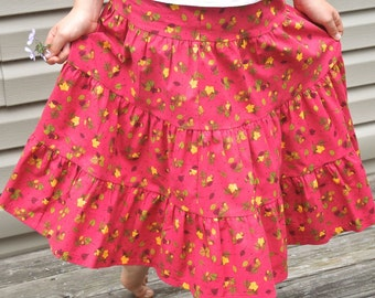 Girls Long Handmade Red Autumn Acorns and Leaves Tiered Peasant Skirt Size 6/8