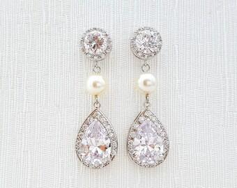 Bridal Earrings Pearl Clear Cubic Zirconia Teardrop Ivory Pearl Earrings Crystal Wedding Earrings Bridal Jewelry, Perley