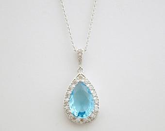 Blue Bridal Necklace Teardrop Blue Crystal Pendant Cubic Zirconia Blue Wedding Jewelry Bridesmaid Gift Something Blue, Kalani