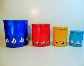 Vintage Tin Canisters, Beach, Nautical  Primary Colors