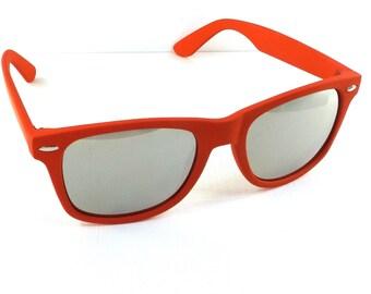 vintage 90s deadstock sunglasses wayfarer matte red plastic frame sun glasses eyewear fashion unisex simple classic silver mirror lens 51