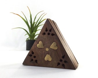 vintage 90s wood trinket box triangle storage brass inlay hearts gift box keepsake india wanderlust boho container hinged lid incense holder