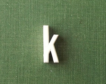vintage 1930's white ceramic lowercase letter k small little old antique porcelain decorative home decor retro personalized name initial