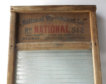 vintage 40's national victory 512 glass washboard aged wood  scrub board wall hanging decorative home decor laundry bathroom kitchen cottage