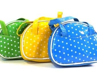 vintage 90s coin purse vinyl polka dot bowling bag handles zipper green yellow blue white womens girls colorful bright retro modern pockets