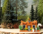 Santa Fe Adobe Fairy House - Miniature Handcrafted HO Scale Fae House with Traditional Canales, Lintels, Vigas, Flowering Plants and Cactus