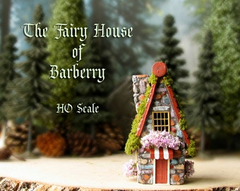 Fairy House of Barberry - Miniature Stone Woodland Fairy House - Terracotta Tiled Roof, Chimney, Striped Awning and Blooming Flower Boxes