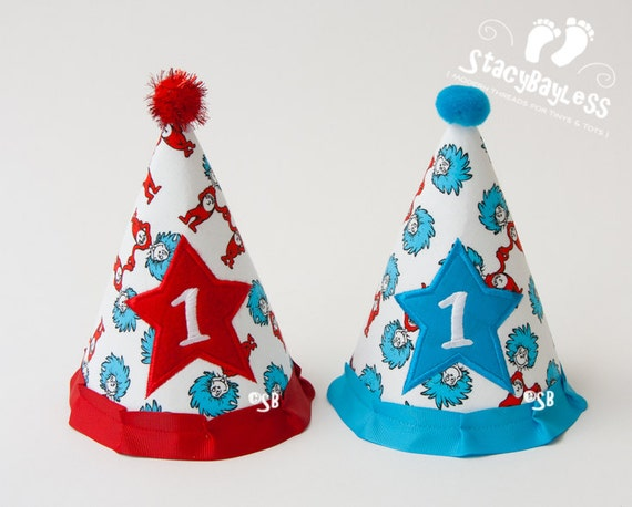 Party Hats for Twins - Thing 1 and Thing 2 Dr. Seuss themed Party Hat - for Cake Smash or First Birthday - Baby - Boys