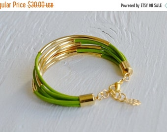 50% OFF SALE : Lime Green Leather Cuff Bracelet with Gold Tubes
