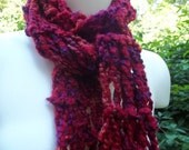 Long Red Knit Scrf, Red and Purple Scarf, Drop Stitch Scarf, Women's Scarf, Women's Accessory, Red Purple Boho Scarf