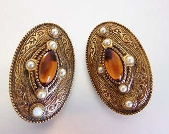 Large Vintage Oval Amber Glass Earrings