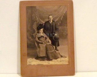 Photograph Sepia Tone Cabinet Card Couple in Winter Coats and Hats Vintage