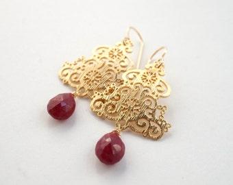 Gold Filigree Earrings, Ruby Dangle Earrings, Filigree Statement Earrings, Ruby Drop Earrings, Gold Statement Earrings, July Birthstone