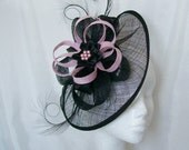 Black Sinamay Saucer Curl Feather and Pale Candy Pink Loop & Pearl Cecily Fascinator Hat - Custom Made to Order