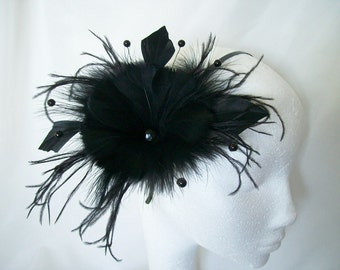 Black Feather Flower and Crystal Pearl Wedding Gothic Steampunk Fascinator Hair Comb Band - Made to Order