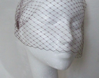 Burgundy Wine Birdcage Bandeau Wedding Bridal Russian Veil - Comb Attachment- Made to Order