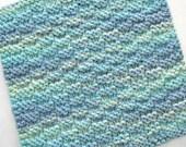 Knit Washcloth, Cotton Washcloth, Knit Dishcloth, Aqua Blue Kitchen, Ocean Bathroom Decor