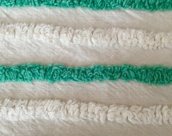 "Green Cream Lines Cotton Chenille Doodaba Bedspread Fabric 18"" by 24"""