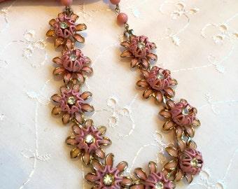 Vintage Pink Floral Enamel Rhinestone Bridal Bridesmaid Wedding Prom Art Deco Gold Necklace Doodaba