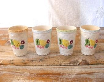 Vintage JAPAN Basket Weave Ceramic Juice Cups with Colored Fruit, Set of 4