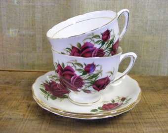 Tea For Two - Pair of Vintage Colclough English Bone China Porcelain Tea Cups & Saucers Red Roses