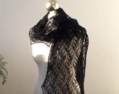 lace scarf, Black hand knitted shiny lace scarf, New Year SALE 15% OFF