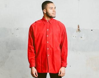 90s Red CORDUROY Shirt . Mens Vintage Button Up Boyfriend Shirt Retro 1990s Grunge Man Boyfriend Hipster Normcore Man Gift . XXXL 3XL