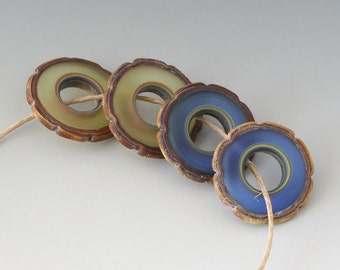 Rustic Ruffle Discs - (4) Handmade Lampwork Beads - Green, Blue