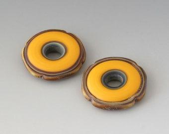 Rustic Squared Discs - (2) Handmade Lampwork Beads - Apricot