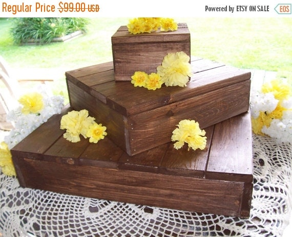 Rustic Wedding Wood Cake Stand: ON SALE Rustic Cake Stand Rustic Cupcake Stand By