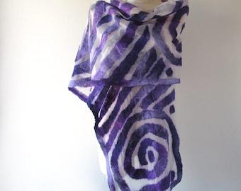 Nuno felted scarf, Purple white felt scarf,  geometric scarf , Women shawl summer scarf  nuno felted  scarf