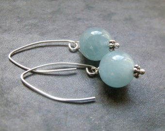 Blue Aquamarine Smooth Round Bead Sterling Silver Dangle Earrings
