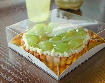 5 clear transparent pie boxes (14cm x 14cm)