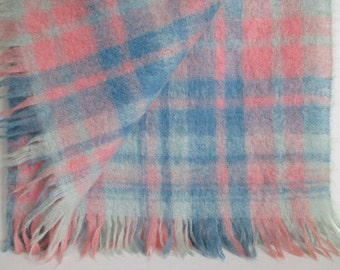 Mohair Throw Blanket Hudson's Bay Made in Scotland Vintage Pink Blue