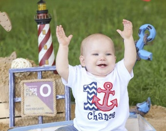 Boys or Girls Chevron Anchor Nautical Birthday Applique Shirt- Free Personalization-- All birthday numbers are available