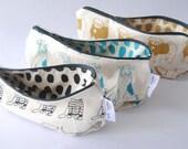 zipper pouch, dog design pencil case, screen printed pencil case, canvas zipped pouch, dog lover gift