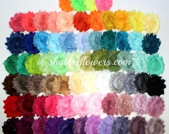 Bulk Shabby Flowers, Shabby Flower Trim, Bundle of 60 Solid Colors, Shabby Flower Headband Supplies