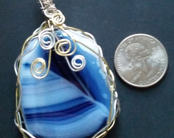 Shades of Blue Fused Glass Wire Wrapped Pendant