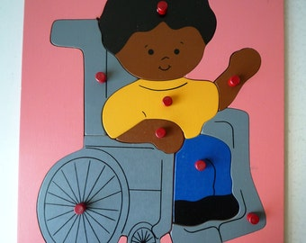 Vintage Wooden Childs Puzzle Girl in Wheelchair, SALE