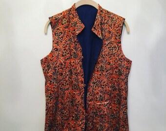 ON SALE 70s Vintage Orange Cotton Vest • Indian Color Block Vest • 1970s Vest Vintage Top • Free Size