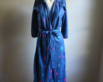 50s Blue Floral Handmade Wrap Dress • Silk Blue Dress • Day Dress • Small